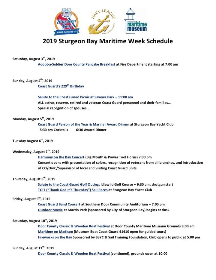 2019 Maritime Week Schedule